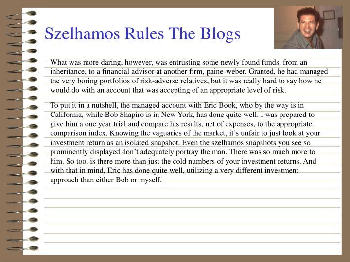 Szelhamos Rules The Blogs