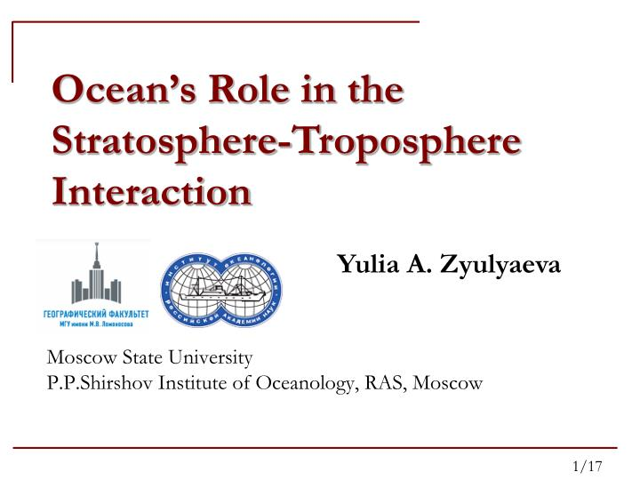 moscow state university p p shirshov institute of oceanology ras moscow n.