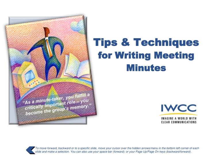 tips techniques for writing meeting minutes n.
