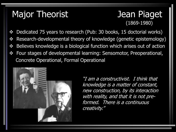 Major theorist jean piaget 1869 1980