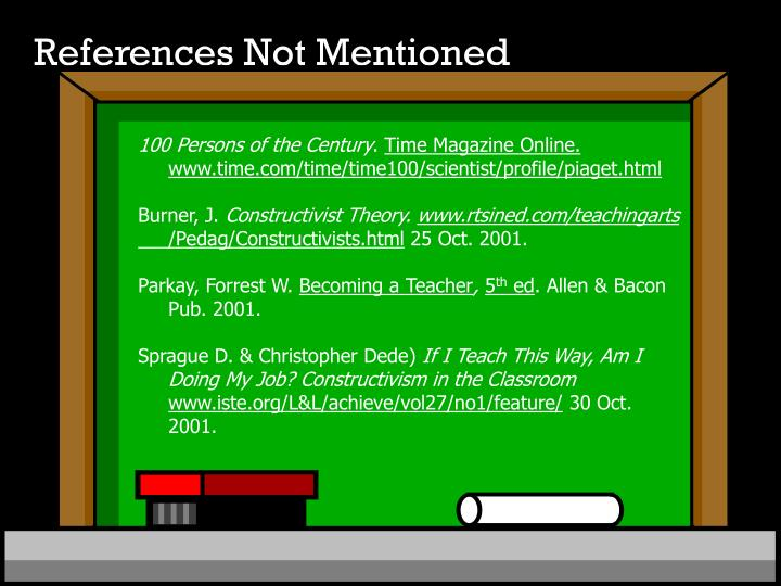References Not Mentioned