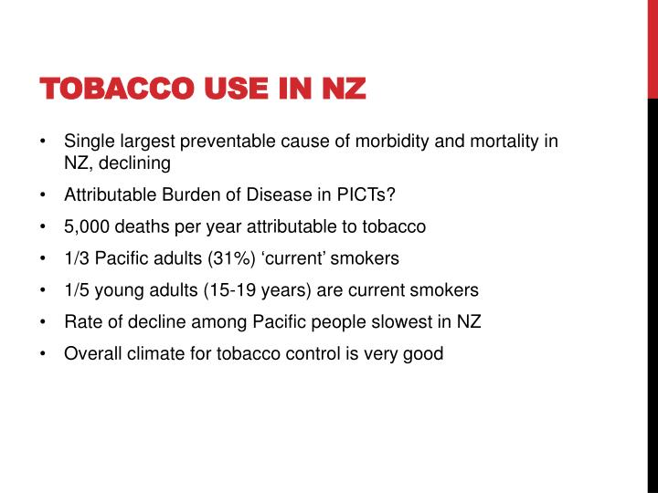 Tobacco use in nz