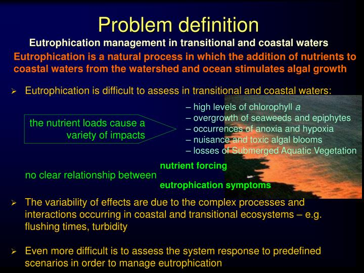 Problem definition eutrophication management in transitional and coastal waters