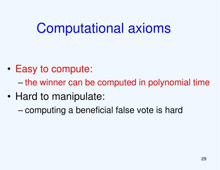 Computational axioms