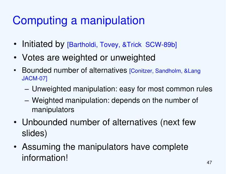 Computing a manipulation