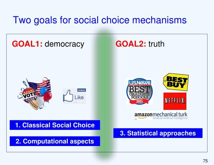 Two goals for social choice mechanisms