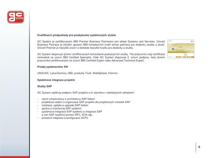 Kvalifikační předpoklady pro poskytování systémových služeb