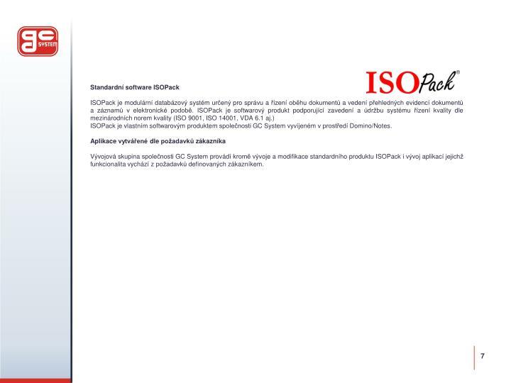 Standardní software ISOPack