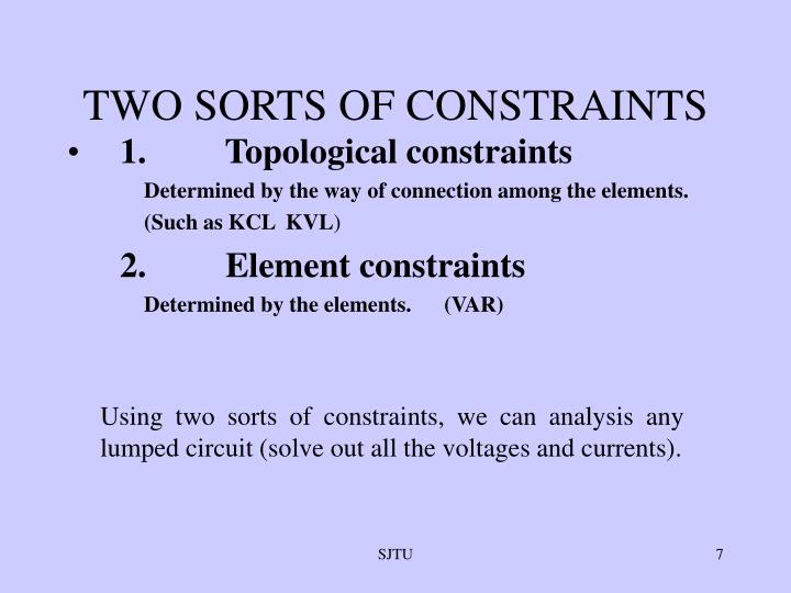 TWO SORTS OF CONSTRAINTS