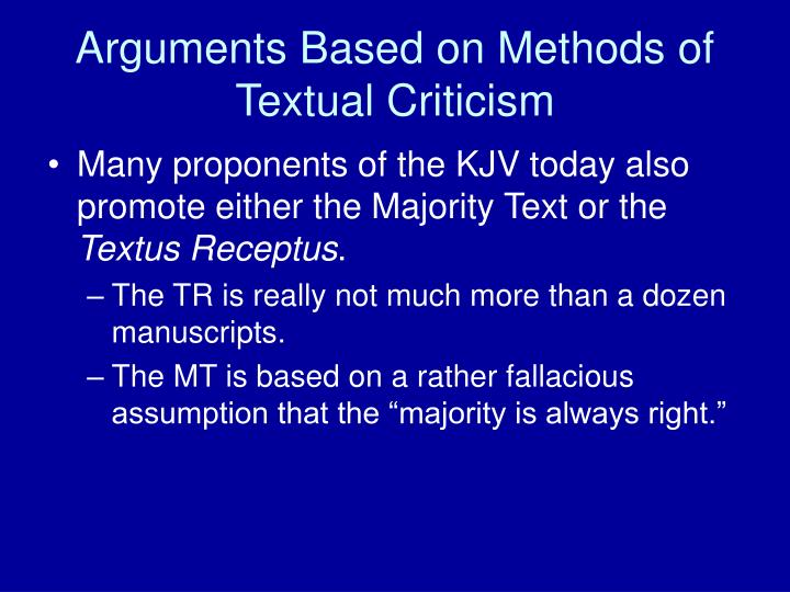 Arguments Based on Methods of Textual Criticism