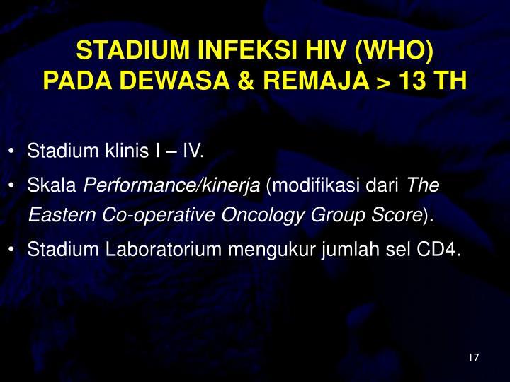 STADIUM INFEKSI HIV (WHO)