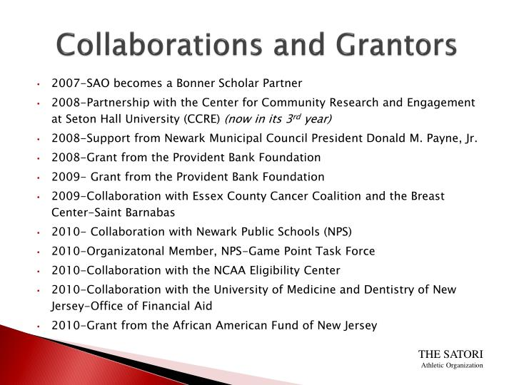 Collaborations and Grantors