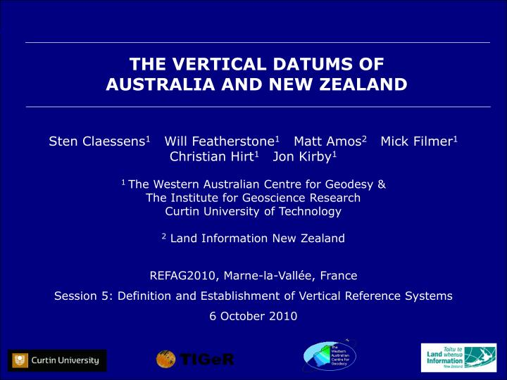 the vertical datums of australia and new zealand n.