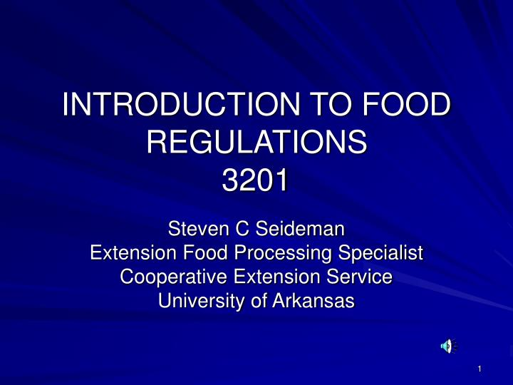 introduction to food regulations 3201 n.