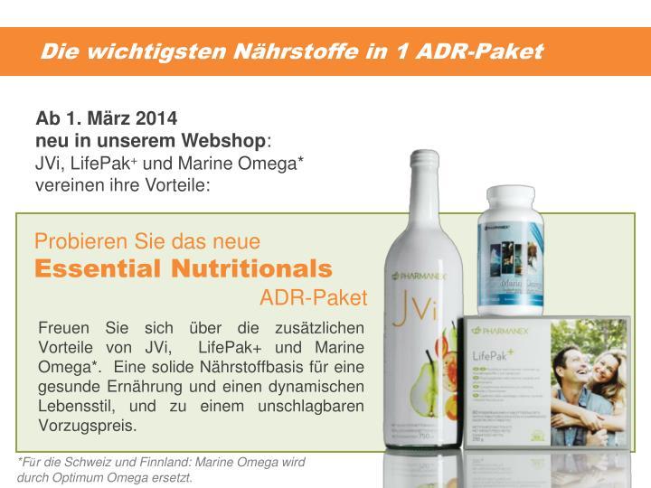Die wichtigsten Nährstoffe in 1 ADR-Paket