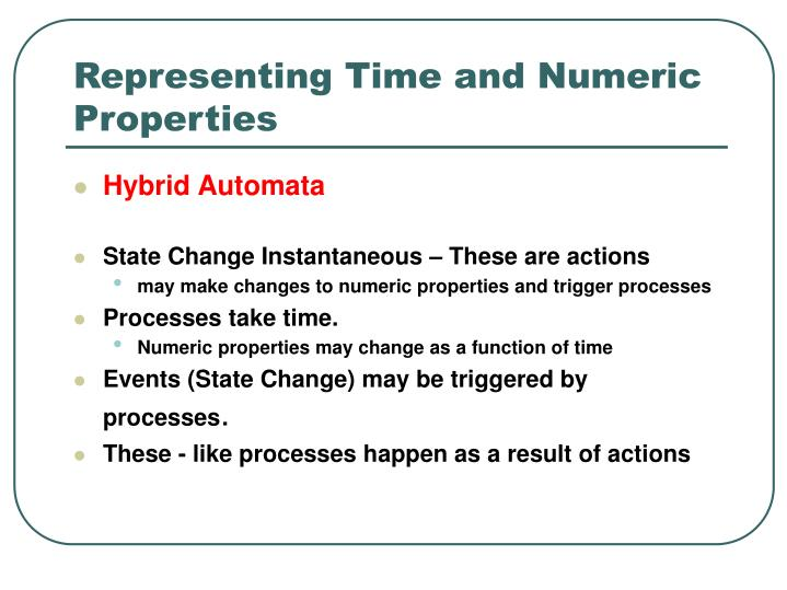 Representing Time and Numeric Properties