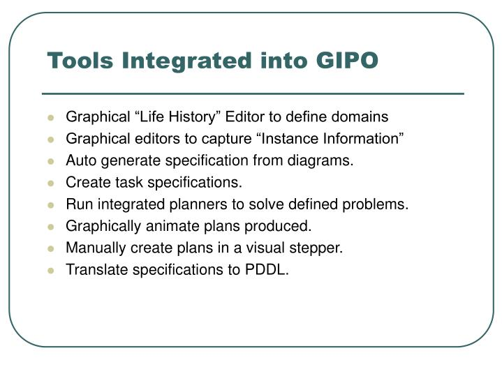 Tools Integrated into GIPO