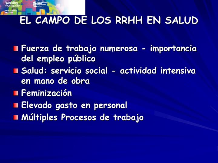 El campo de los rrhh en salud