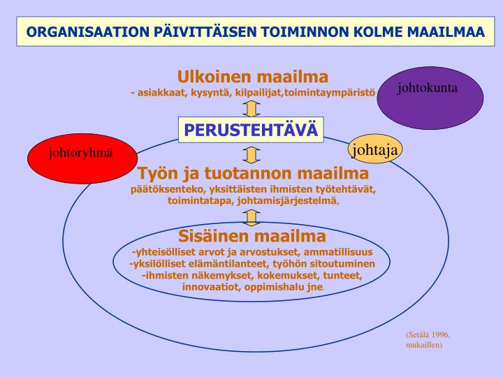 ORGANISAATION PÄIVITTÄISEN TOIMINNON KOLME MAAILMAA