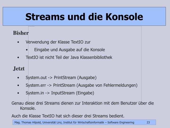 Streams und die Konsole