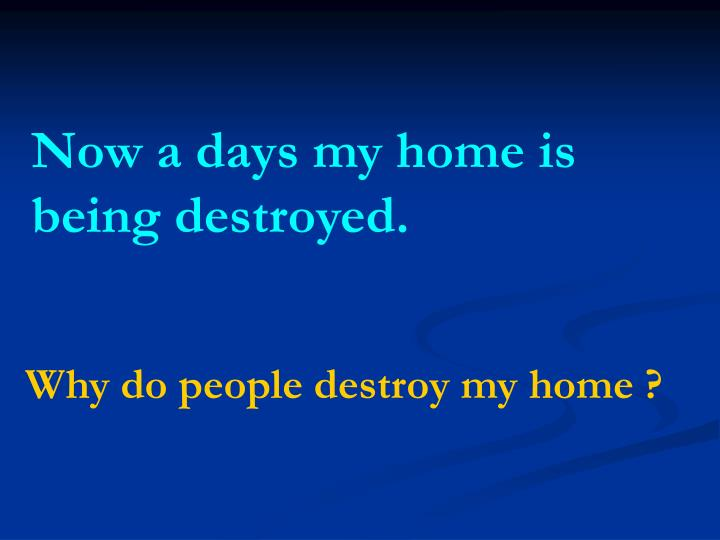 Now a days my home is being destroyed.
