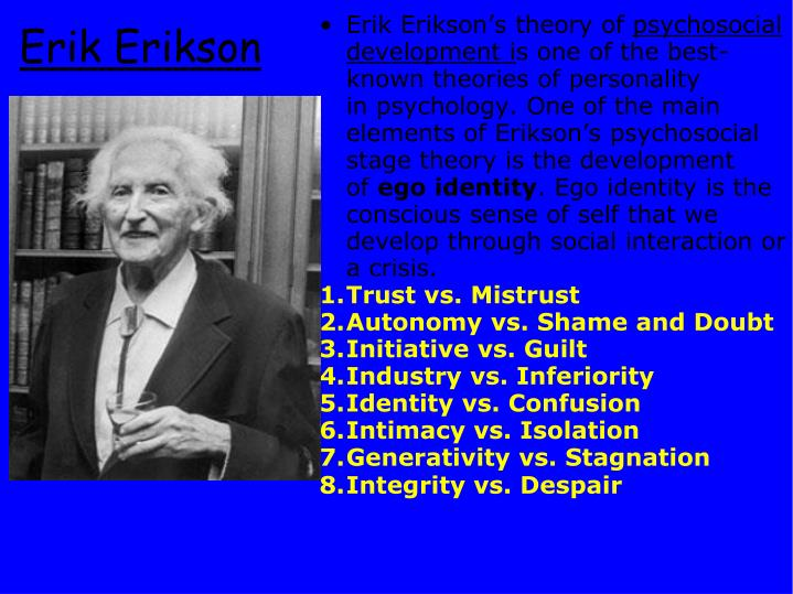 eriksons theory Psychoanalyst erik erikson's stages of development articulated a psychosocial theory of human development made up of eight stages that cover the entirety of the human lifespan from birth to old age.