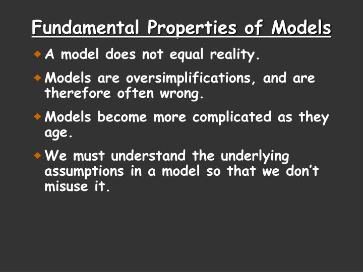 A model does not equal reality.
