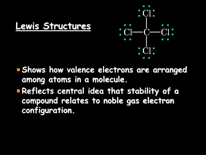 Shows how valence electrons are arranged among atoms in a molecule.