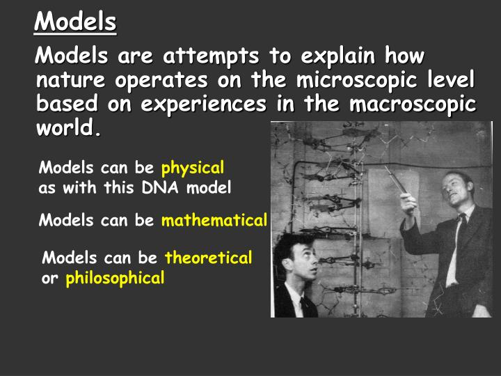 Models are attempts to explain how nature operates on the microscopic level based on experiences in the macroscopic world.