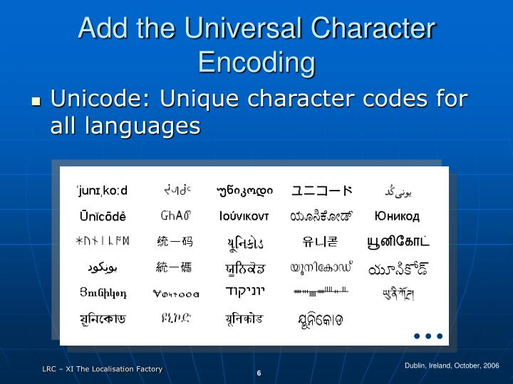 Add the Universal Character Encoding