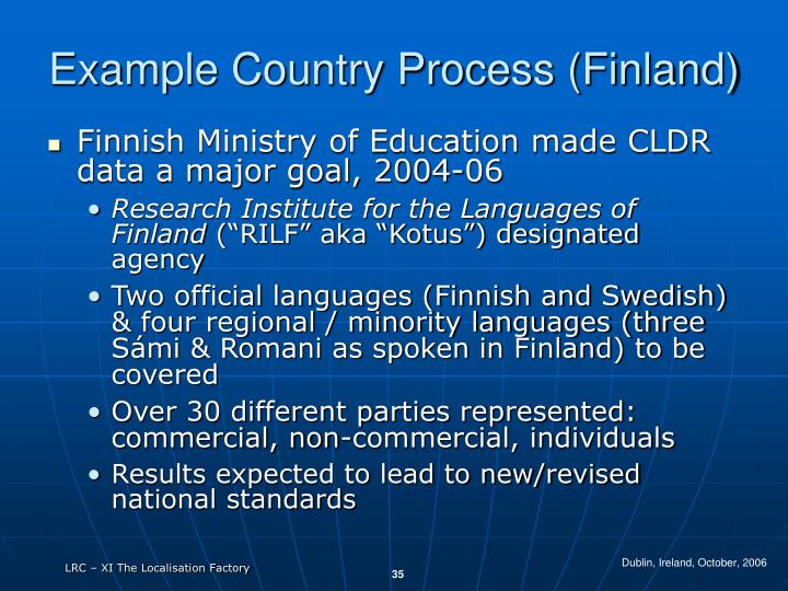 Example Country Process (Finland)