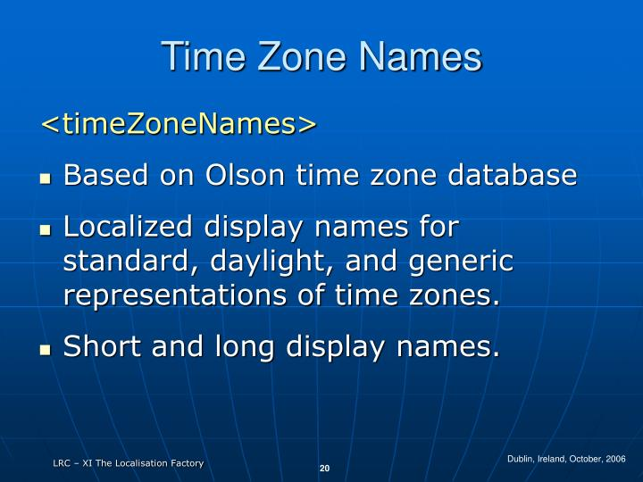Time Zone Names