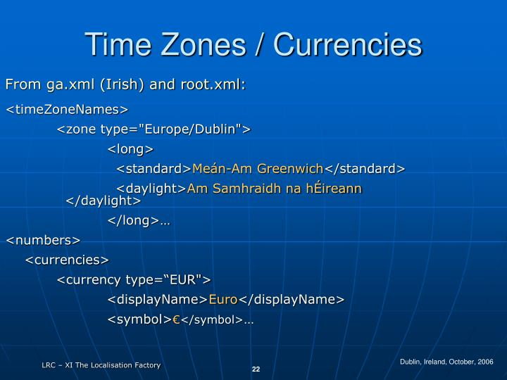 Time Zones / Currencies