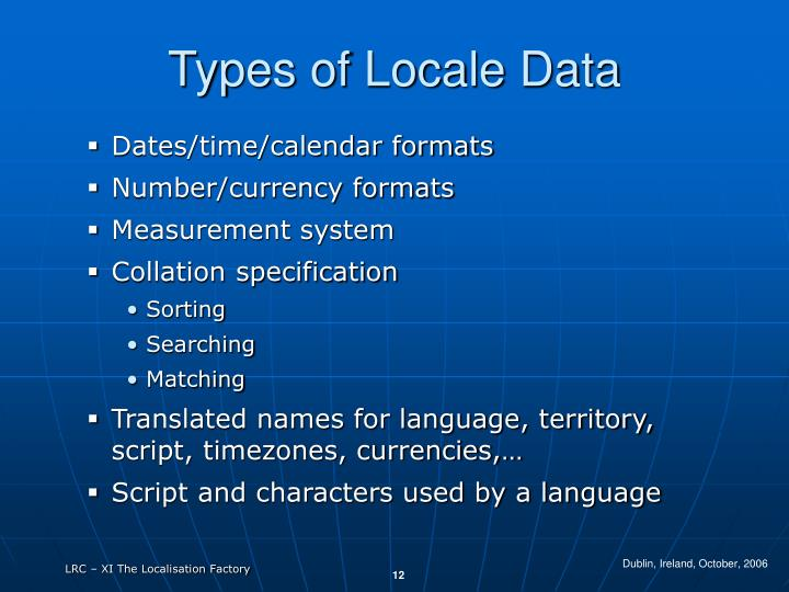 Types of Locale Data