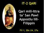 it 2 qari qari mill ittra ta san pawl appostlu lill filippin fil 1 20c 24 27a
