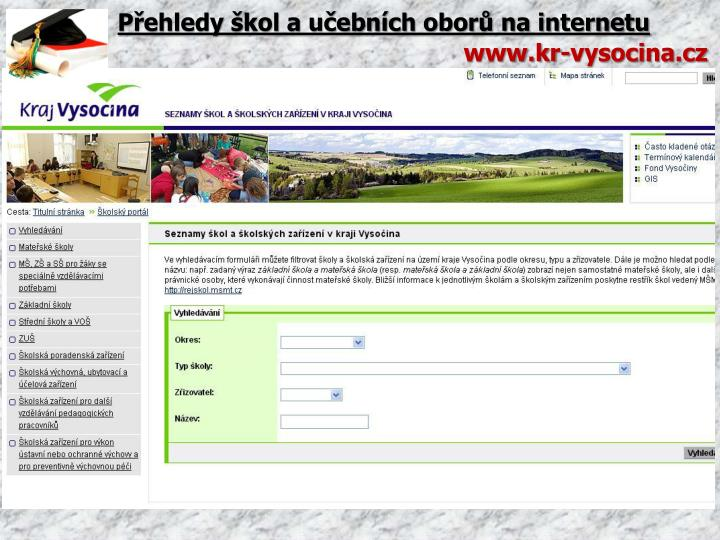 Přehledy škol a učebních oborů na internetu