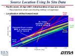 source location using in situ data