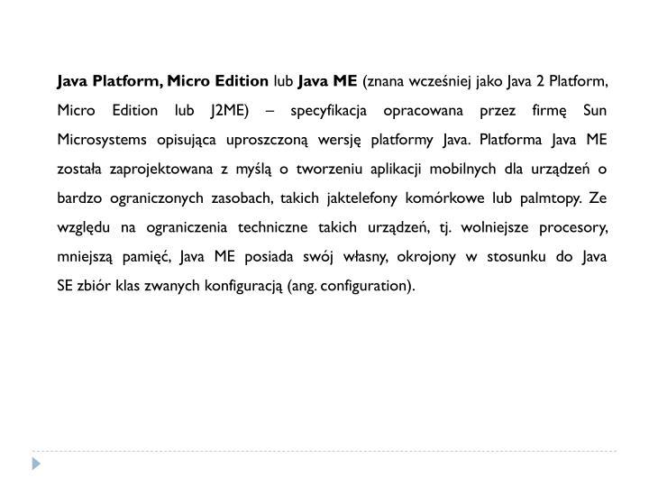Java Platform, Micro Edition