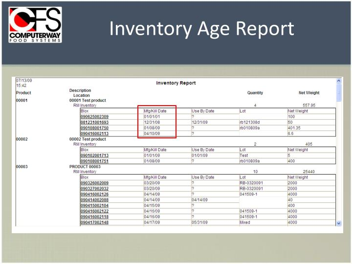 Inventory Age Report
