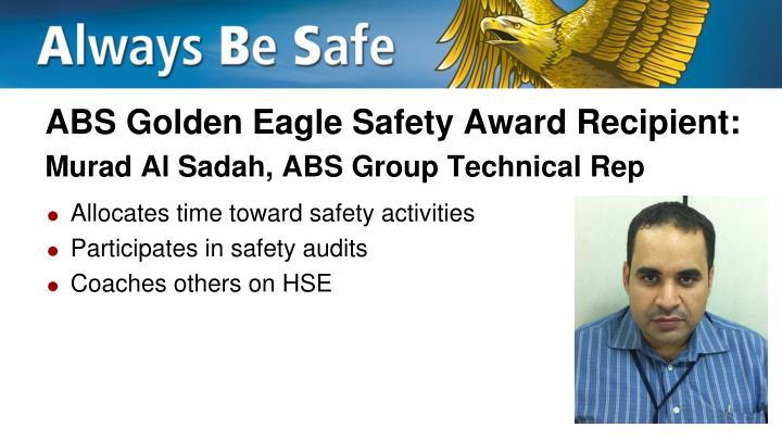 ABS Golden Eagle Safety Award Recipient: