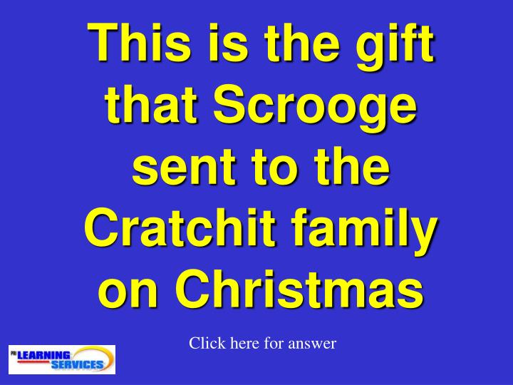 This is the gift that Scrooge sent to the Cratchit family on Christmas