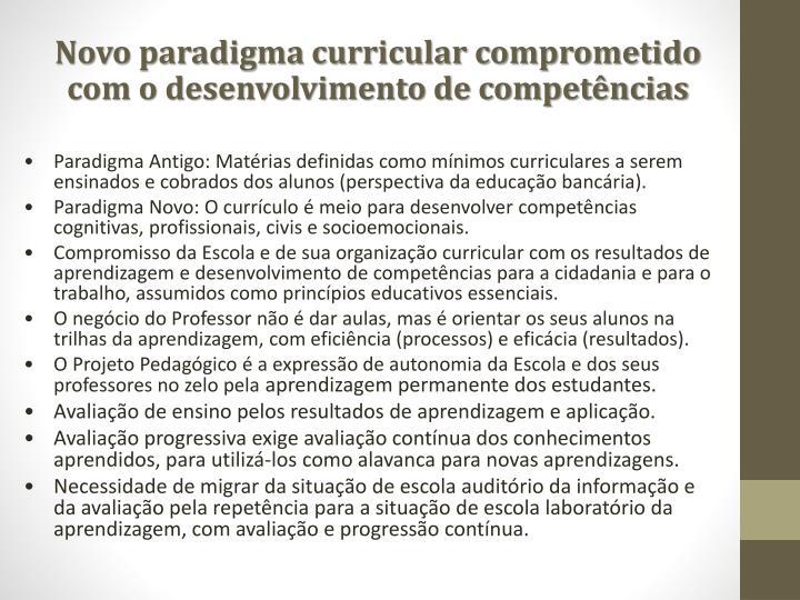 Novo paradigma curricular comprometido com o desenvolvimento de competências
