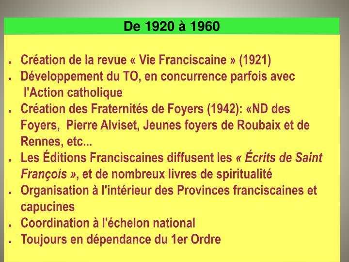 De 1920 à 1960