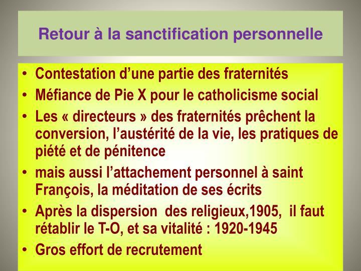 Retour à la sanctification personnelle