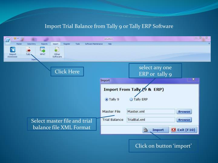 Import Trial Balance from Tally 9 or Tally ERP Software