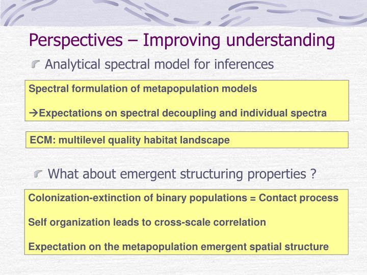 Perspectives – Improving understanding