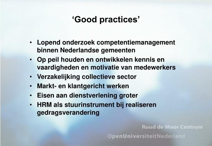 'Good practices'