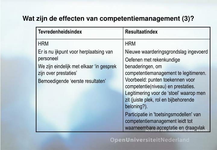 Wat zijn de effecten van competentiemanagement (3)?