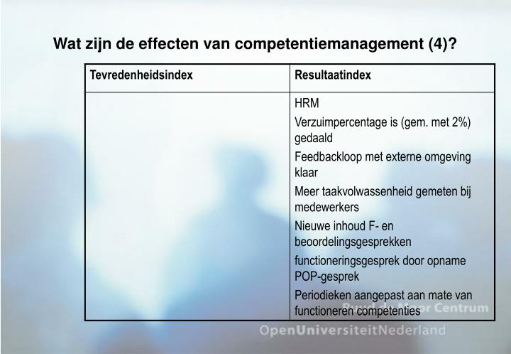 Wat zijn de effecten van competentiemanagement (4)?