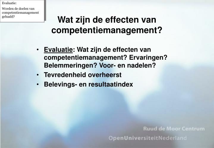 Wat zijn de effecten van competentiemanagement?